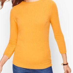 Talbots Yellow Boat Neck Cashmere Sweater SZ L